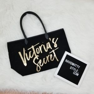Victorias Secret Black Canvas Tote Bag Gold Logo